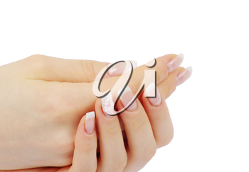female hands with french manicure isolated over white