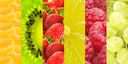 Healthy food background. Collection with different fruits and  berries