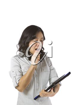 Asian women wearing business causal clothing and yawning on white background