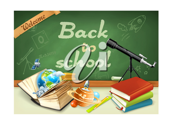 Welcome back to school. Studying and teaching, research and knowledge, vector illustrations on the green chalkboard with sketches