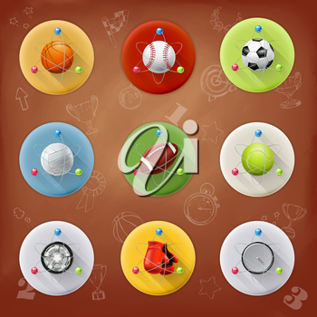 Universe of sports, vector icons set