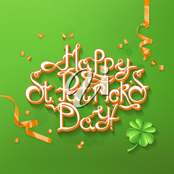 Feast of Saint Patrick. Lettering 3d vector