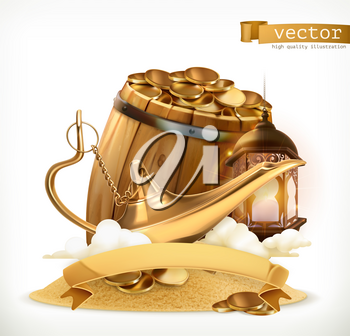 Treasure. Genie lamp and wooden barrel with gold coins. 3d vector icon