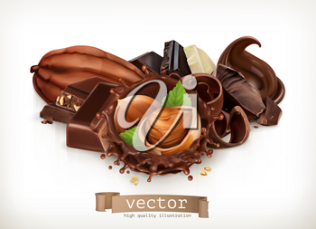 Chocolate bars and pieces. Hazelnut and chocolate splash. Realistic illustration. 3d vector icon