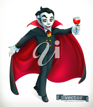 Vampire. Happy Halloween, 3d vector icon