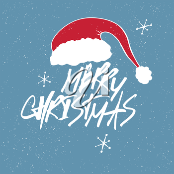 Merry Christmas Lettering. Red letters on blue textured background. With snowflakes and Santa`s hat.