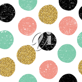 gold, green and black dots. Seamless textured pattern on white background.