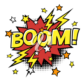 BOOM! phrase in speech bubble. Comic text. Vector bubble icon speech phrase. Comics book balloon. Halftone background.