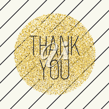 Thank you. Invitation card design template. Diagonal black lines pattern and golden chaotic dots circle shaped. Vector invitation design background.