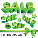 Set of 3d green sale icons