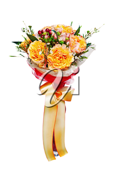 Colorful autumn flower bouquet arrangement centerpiece in vase isolated on white background.