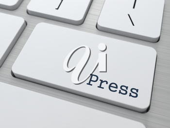 News Concept. Button on Modern Computer Keyboard with Word Press on It.