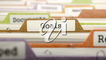 Goals Concept on Folder Register in Multicolor Card Index. Closeup View. Selective Focus. 3D Render.
