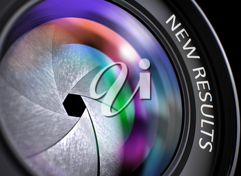 SLR Camera Lens with New Results Concept, Closeup. Lens Flare Effect. New Results Written on a Photo Lens. Closeup View, Selective Focus, Lens Flare Effect. 3D Illustration.