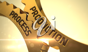Production Process on Golden Cogwheels. Production Process - Technical Design. Production Process - Illustration with Glow Effect and Lens Flare. Production Process Golden Cog Gears. 3D Render.