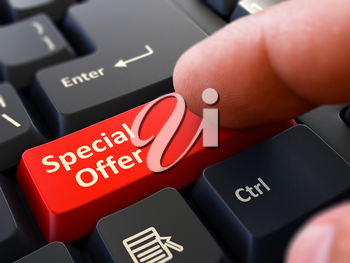 Person Click on Red Keyboard Button with Special Offer. Selective Focus. Closeup View. 3D Render.