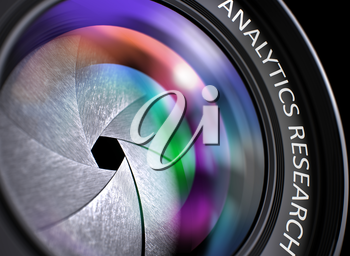 Analytics Research Written on Black Digital Camera Lens with Shutter. Colorful Lens Reflections. Closeup View. Analytics Research - Concept on Lens of Camera, Closeup. 3D Illustration.