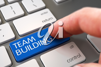Business Concept - Male Finger Pointing Blue Team Building Key on Laptop Keyboard. 3D.