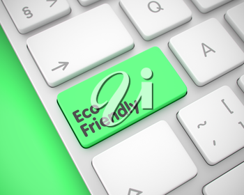 Inscription on the Keyboard Enter Keypad, for Eco Friendly Concept. Online Service Concept with Metallic Enter Green Key on Keyboard: Eco Friendly. 3D Render.