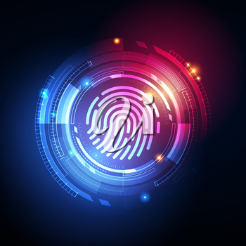 Fingerprint Biometric Identity and Approval Concept. The Future of Security and Password Control Through Fingerprints in an Immersive Technology of Future and Cybernetic.