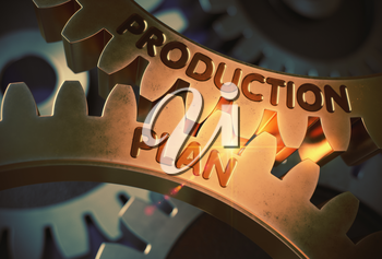 Golden Gears with Production Plan Concept. Production Plan - Illustration with Glow Effect and Lens Flare. 3D Rendering.