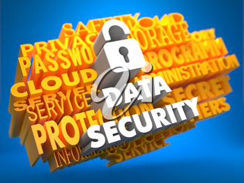 Data Security with Icon of Opened Padlock - White Color Text on Yellow WordCloud on Blue Background.