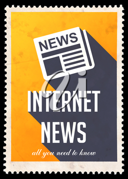 Internet News on Yellow Background. Vintage Concept in Flat Design with Long Shadows.