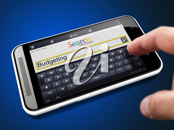 Budgeting in Search String - Finger Presses the Button on Modern Smartphone on Blue Background.