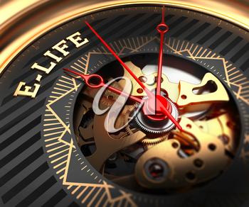 E-Life on Black-Golden Watch Face with Closeup View of Watch Mechanism.