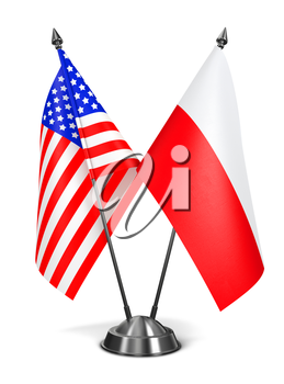 USA and Poland - Miniature Flags Isolated on White Background.