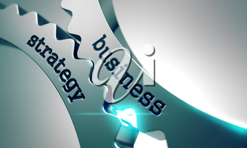 Royalty Free Clipart Image of Business Strategy Text on Gears