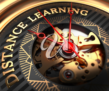Distance Learning on Black-Golden Watch Face with Closeup View of Watch Mechanism.