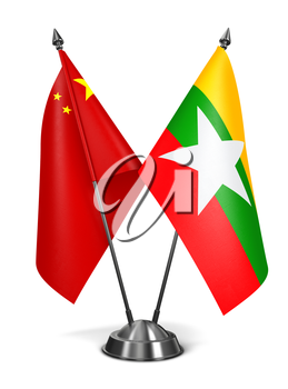 China and Myanmar - Miniature Flags Isolated on White Background.