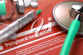 Peripheral neuropathy - Printed Diagnosis on Orange Background and Medical Composition - Stethoscope, Pills and Syringe. Medical Concept. Blurred Image.