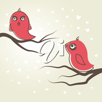Royalty Free Clipart Image of Two Birds on Branches