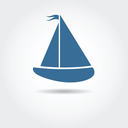 Royalty Free Clipart Image of a Sailboat Icon