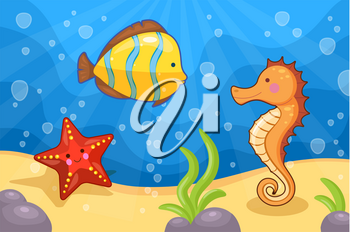 Vector illustration of sea creatures underwater. Starfish, fish and seahorse