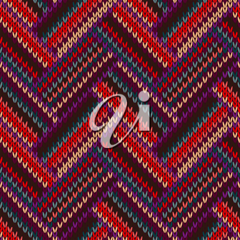 Style Seamless Knitted Pattern. Complex Geometric Striped Red Blue Brown Violet Orange Yellow Color Swatch
