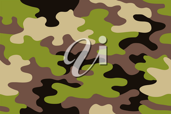 Seamless classic camouflage pattern. Camo fishing hunting vector background. Masking green beige black brown color military texture wallpaper. Army design for fabric paper vinyl print