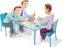 Royalty Free Clipart Image of a Man Being Interviewed