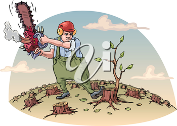 The woodcutter with the chainsaw is cutting the last tree in a forest. Vector illustration. Editable vector illustration.