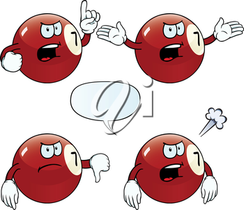 Royalty Free Clipart Image of Angry Billiard Balls