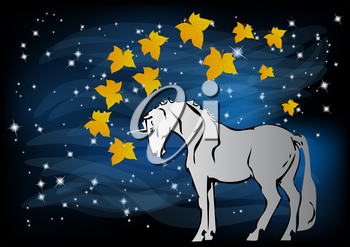unicorn in the night forest. abstract background with sky