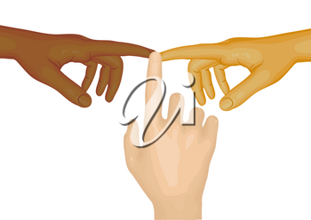 Three hands, Caucasian, African and Asian on white background