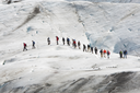 An anonymous group of climbers on the Vatnajokull Glacier, Iceland