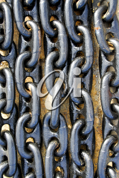 Closeup of many strong metal chain links