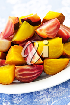 Closeup of roasted sliced red and golden beets on a plate