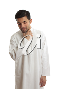 Middle eastern man wearing a traditional Kurta, thoub, thobe, thawb, dishdash, kaftan etc.  They are often loose fitting and made of cool cotton due to the hot climates.   This one has elegant embroid