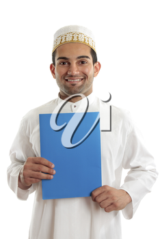 Arab italian mixed race business man holding a brochure or document.  Bohra men wear a traditional white three piece outfit, plus a white and gold cap called a topi.  White background.