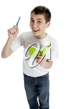Happy bright student with pen and book